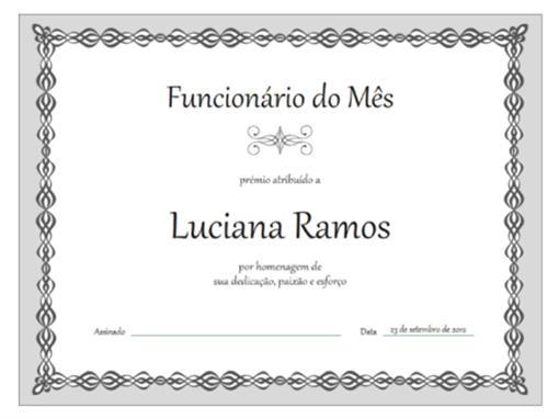 Certificado, Empregado do mês (design de corrente cinzenta)
