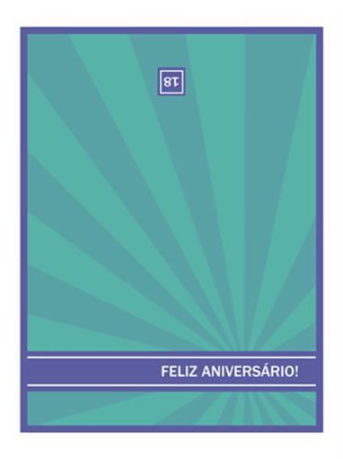 Cartão para datas marcantes de aniversário (raios azuis)