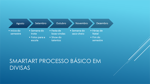 Slide de linha do tempo (divisas horizontais azuis, widescreen)