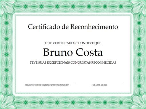 Certificado de Reconhecimento (borda formal verde)