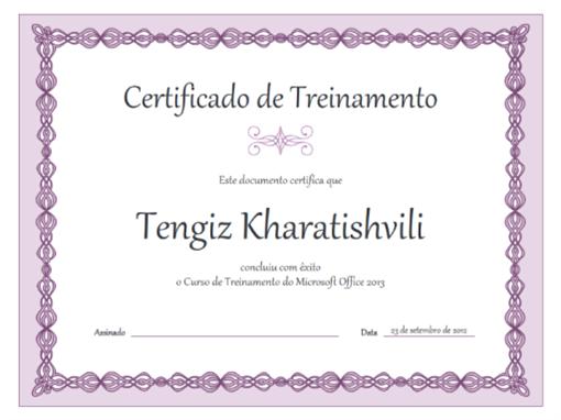 Certificado de Treinamento (design com corrente lilás)