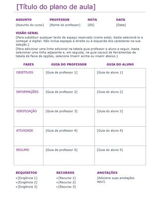 Plano de aulas (cor)