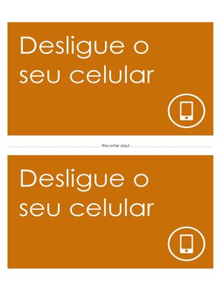 Cartaz de lembrete para desligar o celular (laranja)