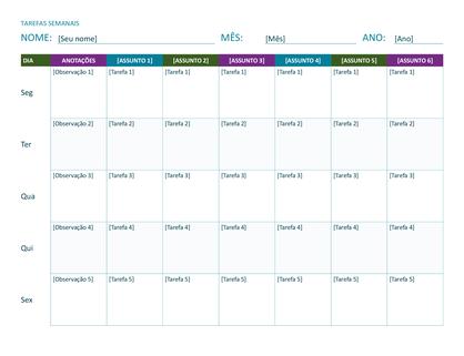 Planilha semanal de tarefas