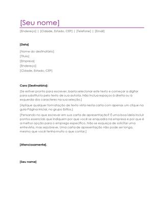 Carta de apresentação de currículo (violeta)