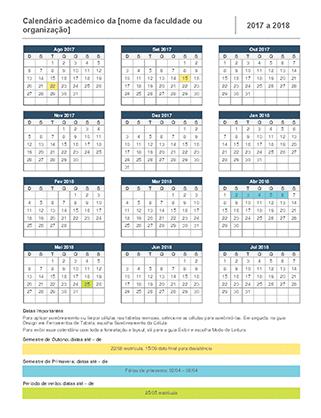 Calendário acadêmico de 2017-2018