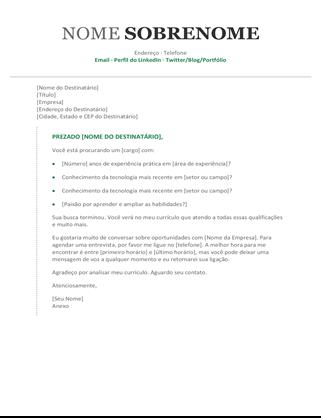 Carta de apresentação cronológica e moderna