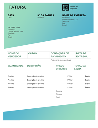 Fatura de serviço (design de Gradiente Verde)