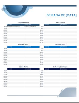 Calendário de compromissos com esferas azuis