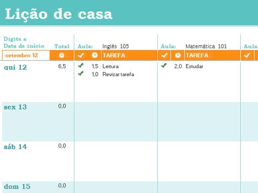 Cronograma de lição de casa
