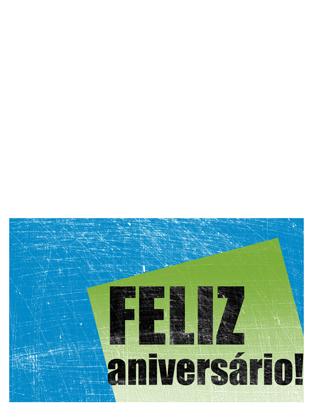 Cartão de aniversário, fundo riscado (azul, verde, meia dobra)