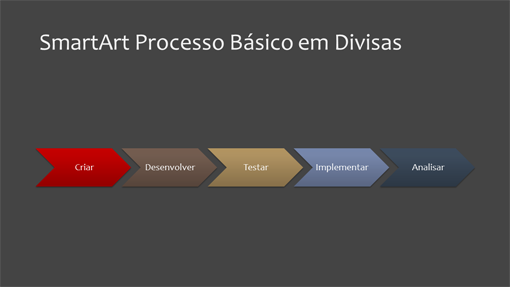 Slide de gráfico de processo (divisa, widescreen)