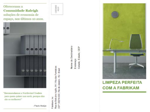 Folheto empresarial de três dobras (design verde, preto)