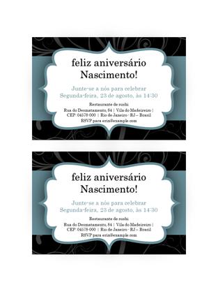 Convites de festa (design de fita azul, 2 por página)
