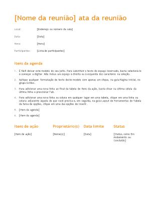 Minutos da reunião (Design cor de laranja)