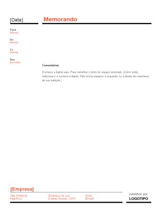 Memorando comercial (Design Vermelho e Preto)