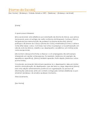 Carta de referência de estudante