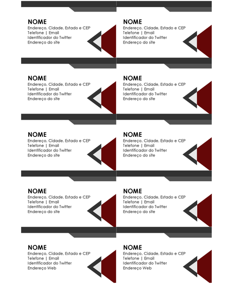 Cartões de visita com ângulos modernos