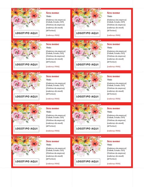 Cartões de visita retrô com flores
