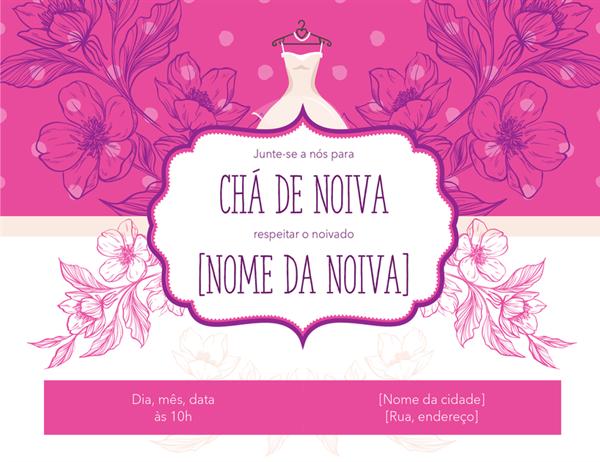 Convite floral para chá de panela