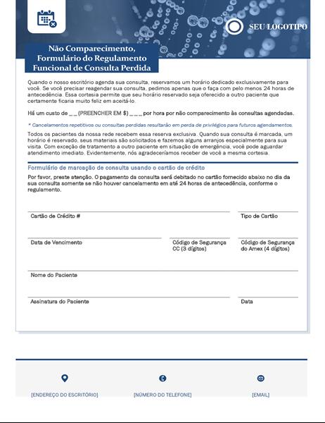 Formulário de taxa de não comparecimento à assistência médica