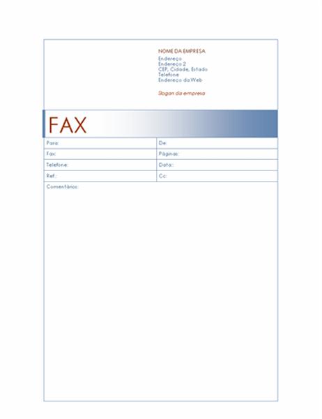 Folha de rosto para fax (tema Azul)