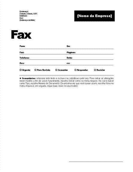 Folha de rosto para fax (tema Profissional)