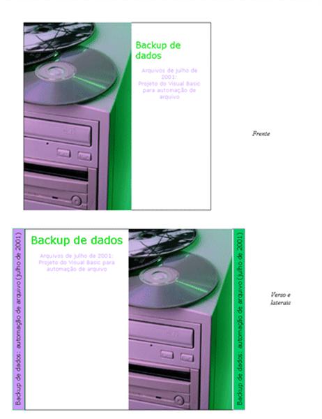 Encartes de CD de backup de dados