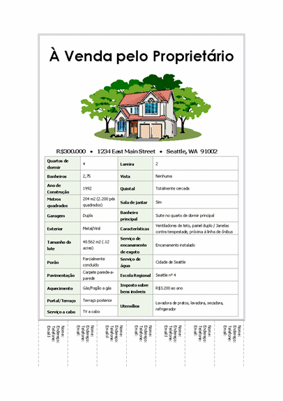 Panfleto de casa com guias destacáveis