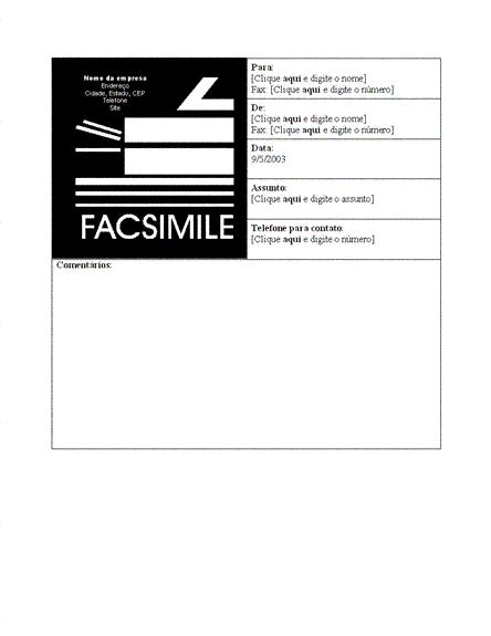 Folha de rosto de fax comercial