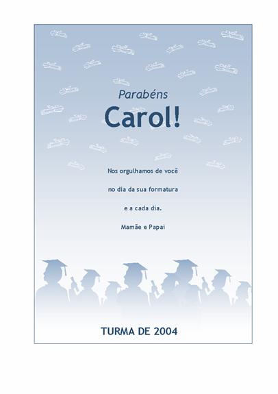 Panfleto de parabéns pela formatura