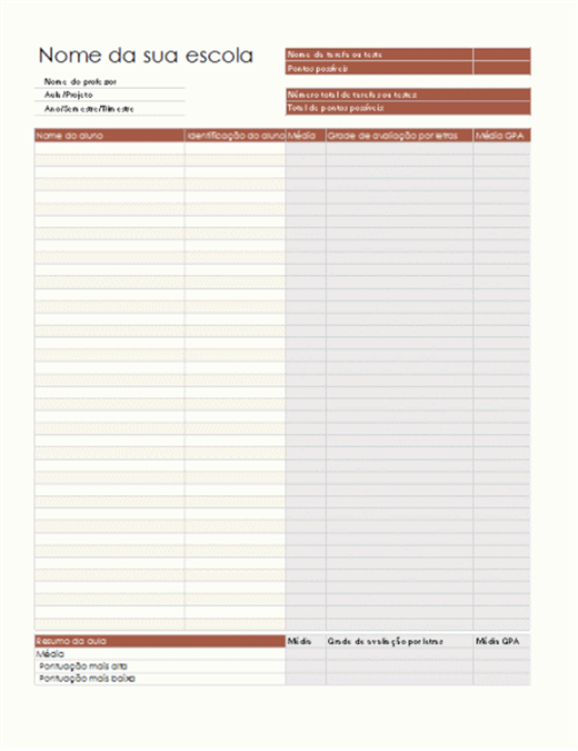 Livro de notas (com base em pontos)