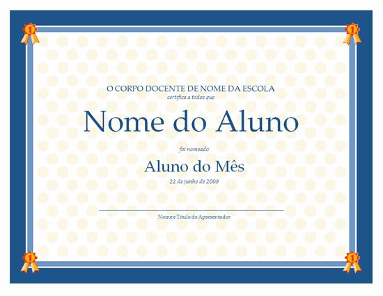 Certificado de aluno do mês