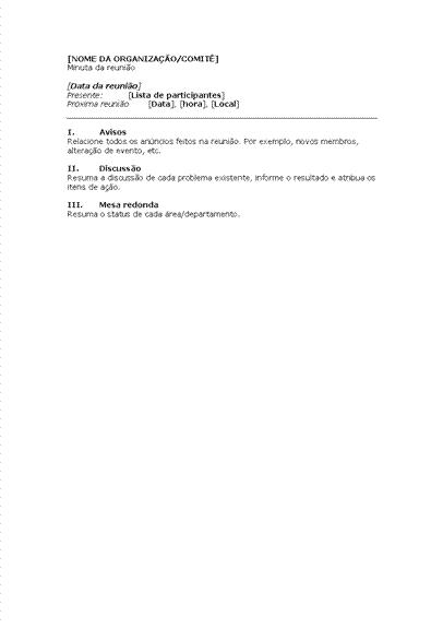 Atas para reunião de empresa (formulário resumido)