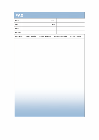 Folha de rosto para fax (tema Gradiente de azul)