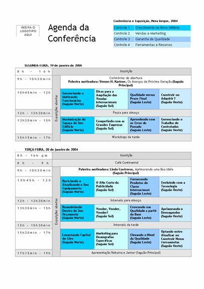 Agenda de conferência com controles