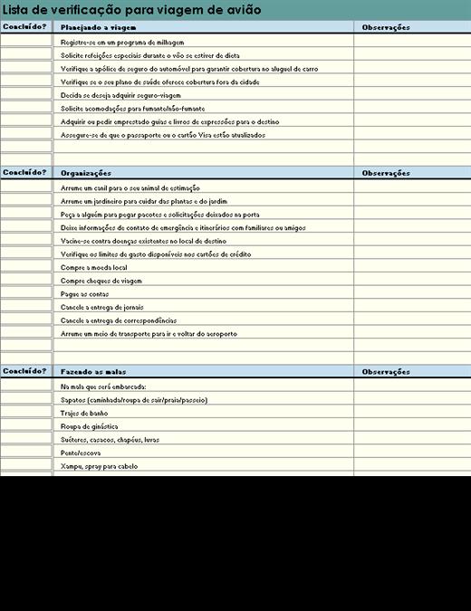 Lista de verificação para viagem de avião