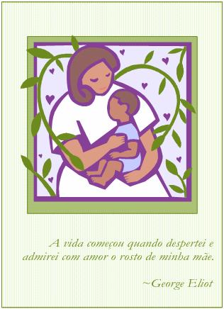 Cartão de Dia das Mães (com mamãe e bebê)