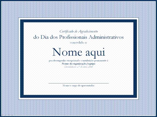 Certificado de reconhecimento para profissional administrativo