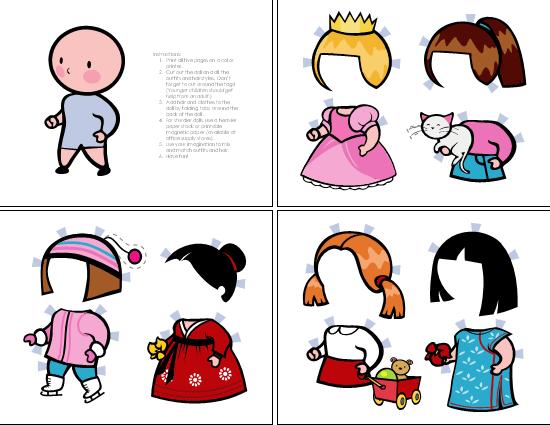 Bonecas de papel (menina, conjunto de 1)
