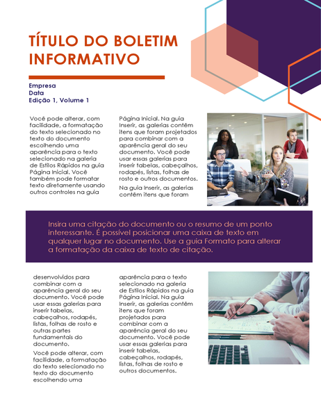 Boletim informativo (design executivo, 2 páginas)