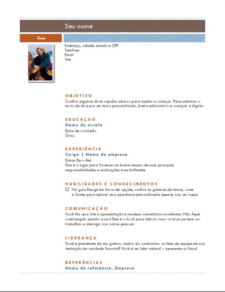 Currículo com foto (tema Mediano)