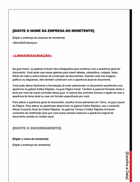 Carta de mala direta (design Essencial)