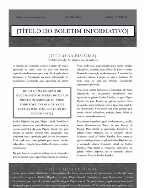 Boletim informativo (design Black Tie)