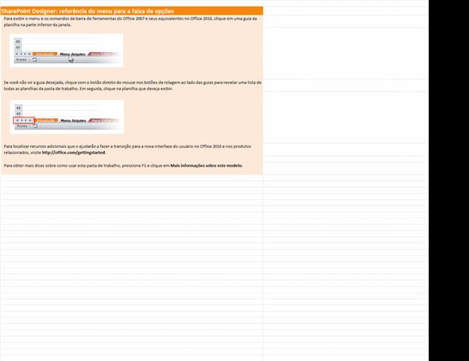 SharePoint Designer 2010: pasta de trabalho de referência do menu para a faixa de opções