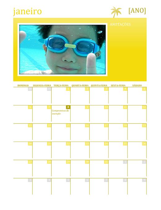 Calendário familiar sazonal (qualquer ano, dom-sáb)