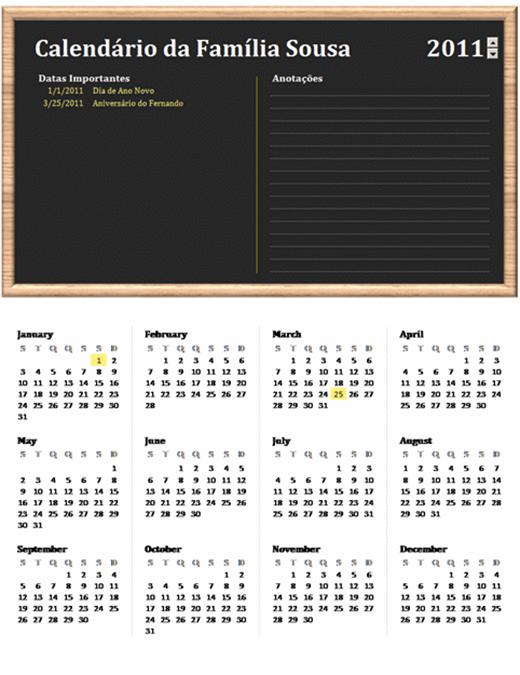 Calendário da família (qualquer ano, seg-dom)