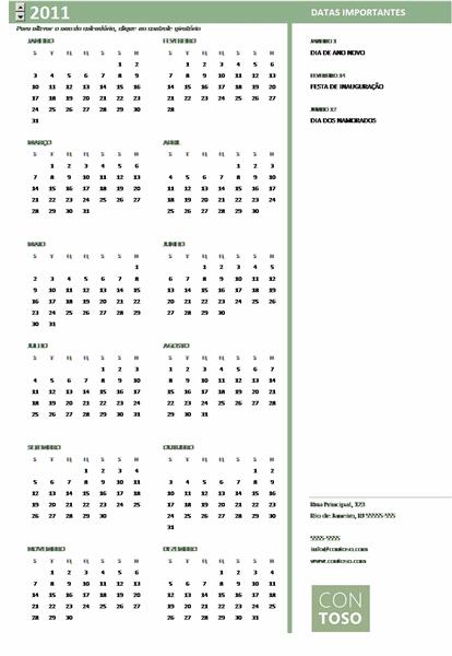 Calendário de pequenas empresas (qualquer ano, seg-dom)