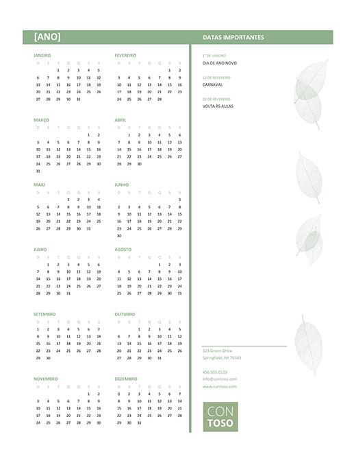 Calendário para pequenas empresas (qualquer ano, dom. a sáb.)