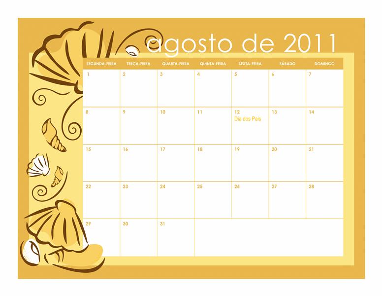 Calendário escolar de 2011-2012 com designs mensais (seg-dom)